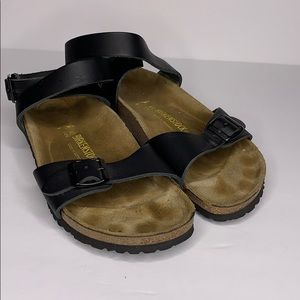 Birkenstock leather twisted ankle strap sandals